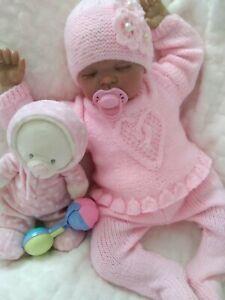 "🌸 Hand knitted baby cardigan pram set 0-3 months / reborn doll 19"" - 22"""