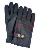 Riparo Men's Genuine Leather Winter Gloves with Fleece Lining - Black/Red Thread