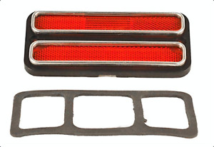 68-72 Red Side Marker Lamp Lens Stainless Trim Classic GMC Truck Chevrolet Chevy