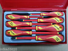 TENG TOOLS 1000 VOLT INSULATED SCREWDRIVER SET 7 Pc VDE in TRAY TTV907N