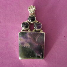 Beautiful 9.25 Silver Pendant With Charoite 17.2 Gr.5.5 x 2.8 Cm..Wide In.Box