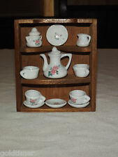 VINTAGE MINI CHINA CABINET WITH TEAPOT DISHES CUPS