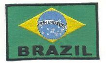 "2 1/8"" x 3 5/8"" Brazil Brasil Flag Bandeira Embroidery Applique Patch"