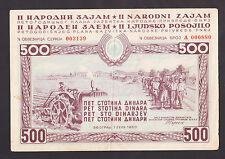 YUGOSLAVIA  500 Dinara 1950 XF, 2nd National Loan, tractor horses,wheat, BOND