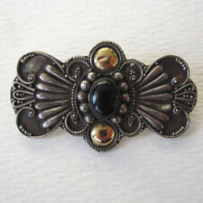 STERLING SILVER BALINESE BROOCH SCARF PIN SILVER GOLD TRADITIONAL STYLE ONYX