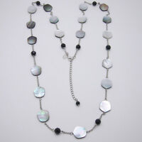 lia sophia women jewelry mother of pearl long necklace chain shell