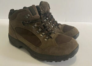 Mens Lands End Hicking Boots Size 10 D Brown Trail Suede Canvas Shoes