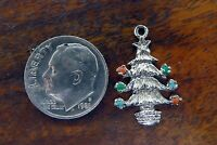 Vintage sterling silver MERRY CHRISTMAS TREE ORNAMENTS STAR charm