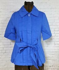 TULLE Anthropologie Royal Blue Button Short Sleeve Jacket Peter Pan, Med