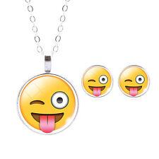 Cute Emoji Expression Stud Earrings & Pendant Necklace (e03)