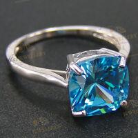 Aquamarine ring: cushion cut simulated aquamarine engagement ring 925 Silver