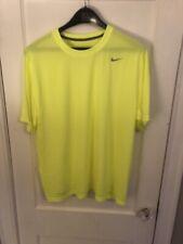 Nike Dri-Fit Neon Yellow Silver Logo Men's Xxl Soft Athletic Running Shirt