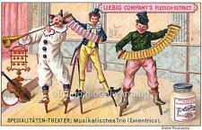 Print 1890s Circus Show - Musical Clowns on Stilts