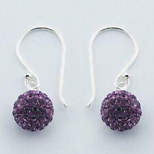 Silver hook earrings Purple czech crystal beads shamballa  8mm size round