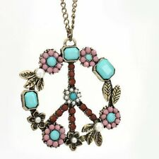 Peace Catena Lunga Vintage Fiori Collana Necklace Paix dedu KETTING Hippie