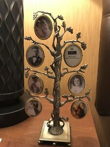 Burnes of Boston Family Tree Stand 14 Photo Picture Frame Silver Pewter-tone