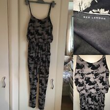 QED London Size S 8 Summer Vintage Floral All In One Jumpsuit Outfit Ruffle