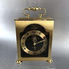 Forestville Tempus Fugit Brass Mid Century Modern Desk Clock Vintage Battery