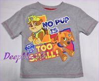 DISNEY TOP TEE SHIRT BOYS - NICKELODEON PAW PATROL NO POP IS - SZ 2T 3T GREY NEW