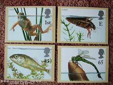 PHQ Stamp card set FDI Back No 233 Pond Life, 2001. 4 card set.  Mint Condition.