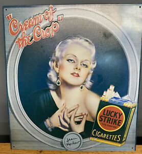"""Vintage JEAN HARLOW """"CREAM OF THE CROP"""" LUCKY STRIKE CIGARETTES TIN AD SIGN"""