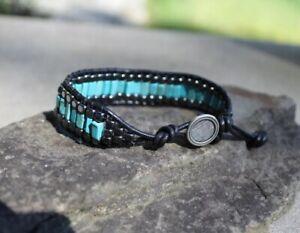 Men's Turquoise and Hemalyke Beaded Wrap Black Leather Bracelet handmade USA New