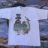 Vintage 1995 Men's Large Single Stitched Grey Buck Wear Hunting T-Shirt VTG
