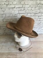 Vintage Henschel Skullys Hat Brown Suede Leather Western Outback Braided
