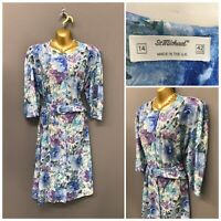 Vintage St Michael M&S Blue Floral Polyester Dress UK 14 EUR 42 US 10