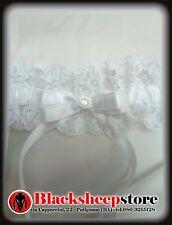 Giarrettiera sposa con cristallo pizzo raso Bianco made in Italy sexy wedding