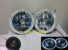 "5 3/4"" 5.75"" H5001 H5006 ROUND CLEAR HEADLIGHTS H4 HALO"