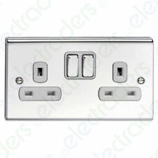 Deta SD1209CHW Slimline Decor 2 Gang Double Pole Switched Socket