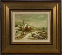 Marti - 20th Century Oil, Village Landscape with a Lumberjack