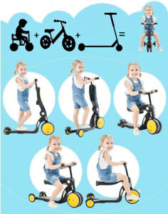 5-in-1 Infant Kids Tricycles MultiFunctional Boys and Girls Balance Bike Scooter