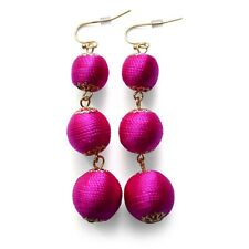 Ball Drop Earrings Pink Statement Threaded Fashion Crispin Silk Luxe Fuschia