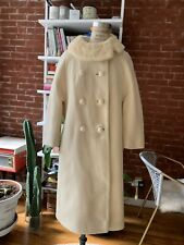 Vintage White 100% Wool Coat 50s Size Small
