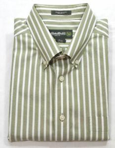 Eddie Bauer Men Sz Tall Large Button Down Shirt Long Sleeves Striped Green White