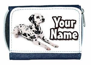 DALMATIAN DOG PERSONALISED LADIES / GIRLS DENIM PURSE -GREAT NAMED GIFT