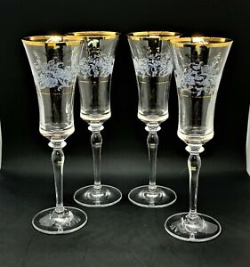 Mikasa Antique Lace Fluted Champagne Stems - Set of 4 - EX COND
