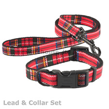 Ancol Dog Fashion Adjustable Nylon Collars & Leads Tartan - All Sizes - Fast Del
