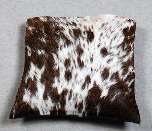 NEW COW HIDE LEATHER​ CUSHION COVER RUG COW SKIN Cushion Pillow Covers C-4379