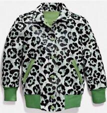 NEW COACH Women's Green Wild Beast Leather Baseball Jacket Coach Bomber Coat