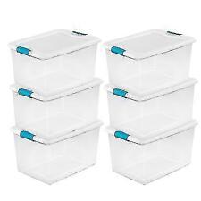 Sterilite 64 Quart Clear Plastic Storage Boxes - 6 Pack
