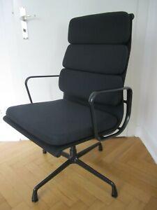 VITRA EA 208/ 219 SOFT PAD STOFF Office Alu Chair BLACK EDITION Eames Stuhl