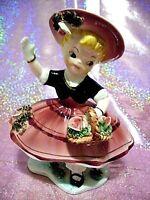 *RARE VTG Japan Pink Ruffle Bloomer Shopper Girl Angel Roses Figurine