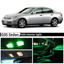 11x Green LED Lights Interior Package  2003-2006 G35 Sedan