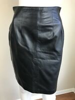 Women's Vintage 80's Black Lambskin Leather Pencil Skirt, Size S, Pre-Owned