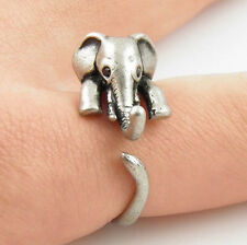Vintage Sterling Silver Retro Lovely Cute Elephant Marcasite Pinkie Ring Gift