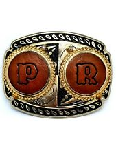 INITIALS  P. R. RODEO COWBOY LEATHER LETTERS GOLD & BLACK WESTERN BELT BUCKLE