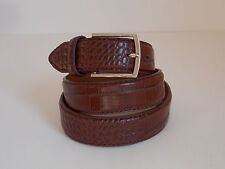 M Size 34-36 Men's Brown Croc Print  Genuine Leather Dress Belt Width 1 1/4""